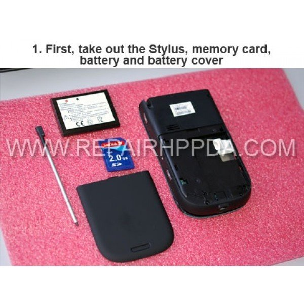 1 First, take out the stylus, memory card, battery and battery