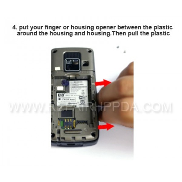 4 Pull the pastic between the housing and housing