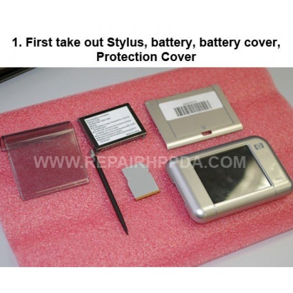 1 First take out Stylus,battery,battery cover and protection c