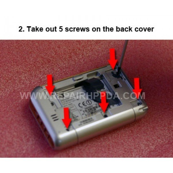 2 Take out 5 screws on the back cover