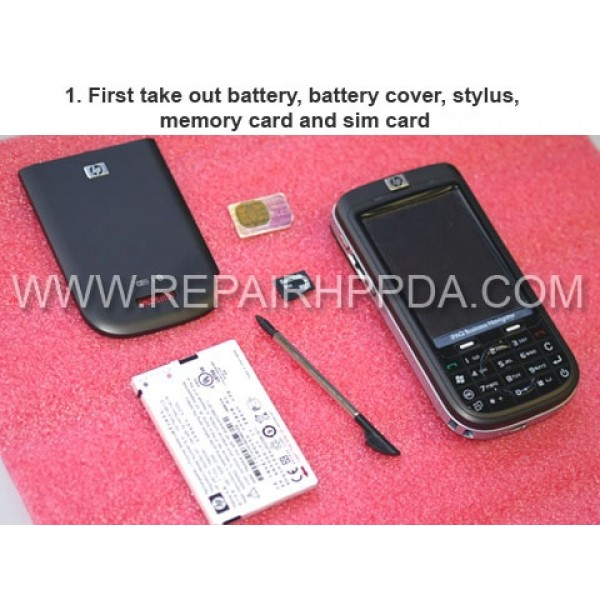 1 First take out battery, battery cover, stylus, memory card