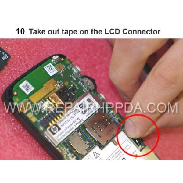 10 Take out the Tape on the LCD Connector