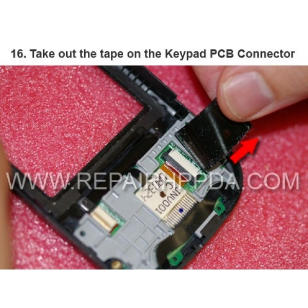16 Take out the tape on the Keypad PCB Connector