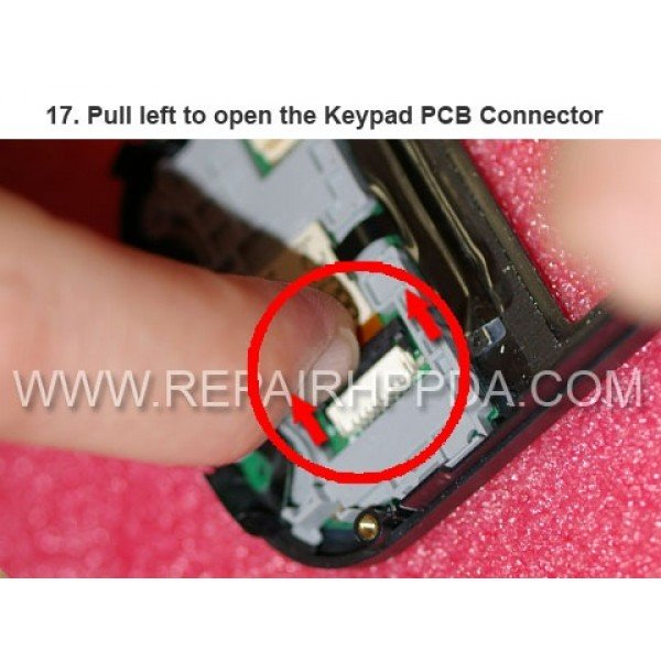 17 Pull left to open the Keypad PCB Connector
