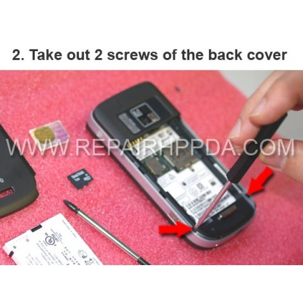 2 Take out 2 screws of the back cover
