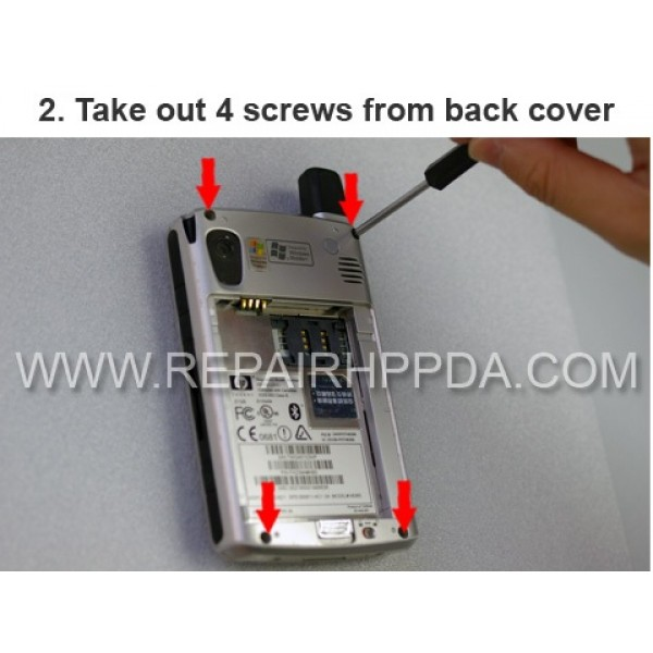 2 Take out 4 screws from back cover / housing
