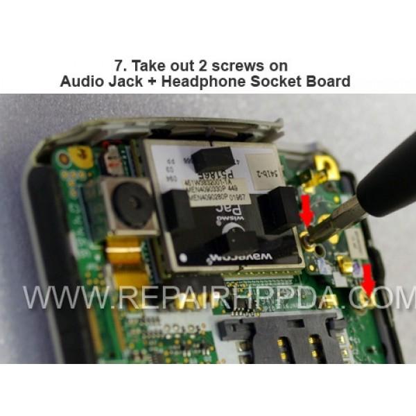 7 Take out 2 screws on Audio Jack + Headphone Socket Board
